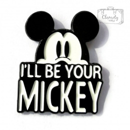 MIKI MOUSE BUTTON WHITE / BLACK I`LL BE YOUR MI